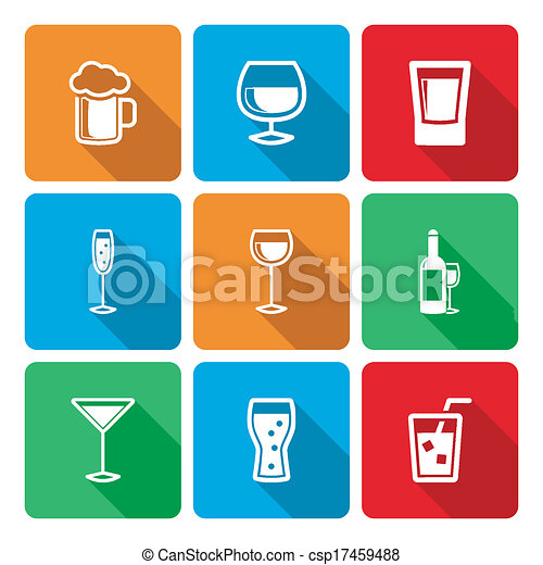 Drink Icons with long shadow - csp17459488