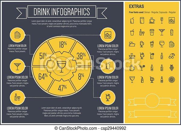 Drink Line Design Infographic Template - csp29440992