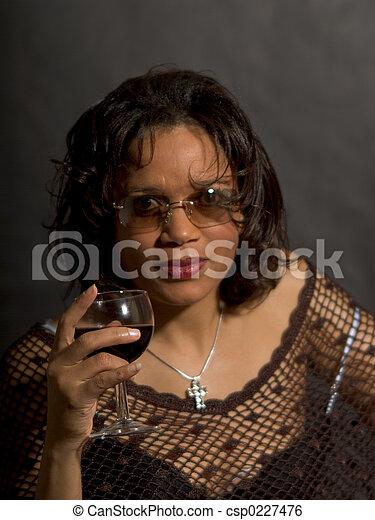 Drinking red wine - csp0227476