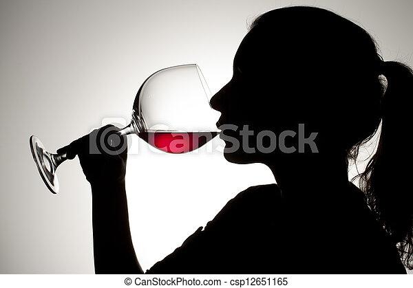 drinking red wine - csp12651165