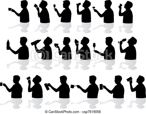 Drinking silhouettes  - csp7619056