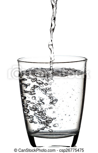Drinking water is poured into a glass - csp26775475