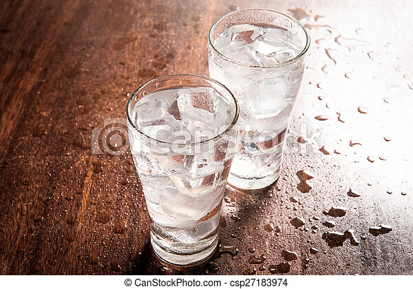 Drinking water is poured into a glass - csp27183974