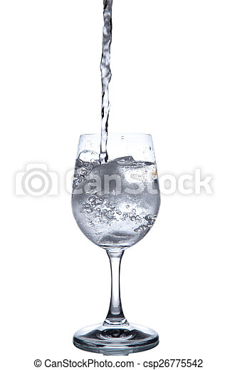 Drinking water is poured into a glass - csp26775542