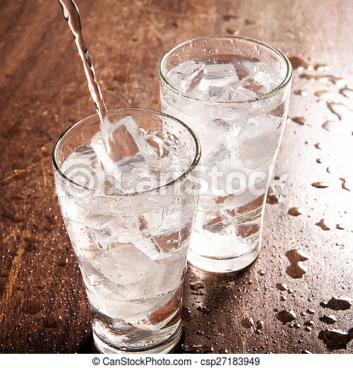 Drinking water is poured into a glass - csp27183949