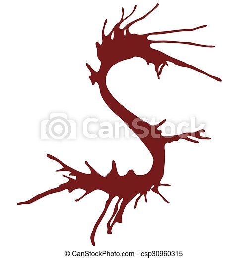 Dripping Blood Ink Fonts The Letter S