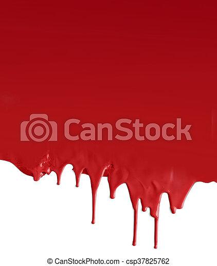 Dripping dark red on white - csp37825762