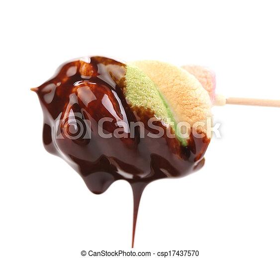 dripping., marshmallow, chocolate - csp17437570