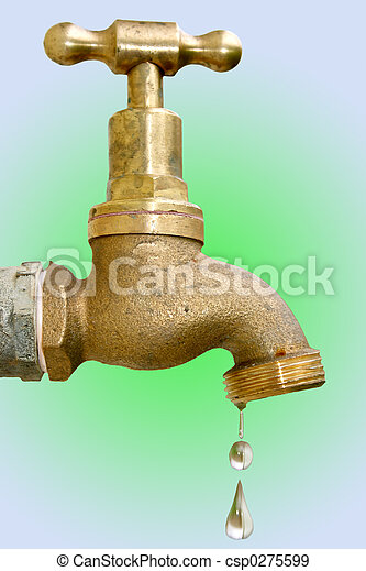 Dripping tap. Old brass dripping faucet. clipping path... stock ...