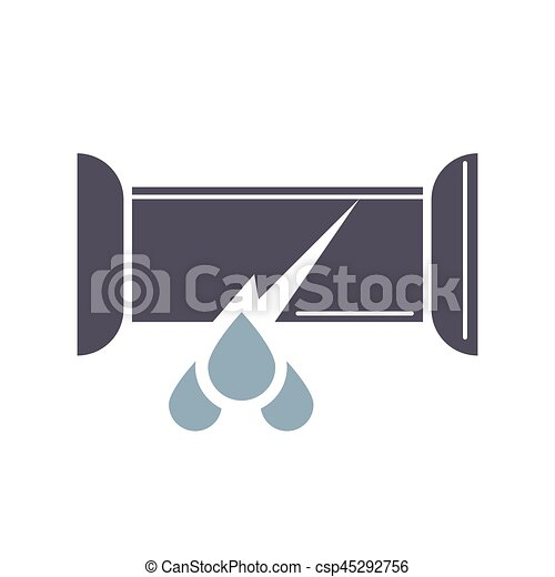 Dripping water pipe icon, trumpet break in cartoon style - csp45292756