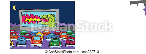Drive In Movie Theater Cartoon Scene Of People In Their Cars Watching A Film