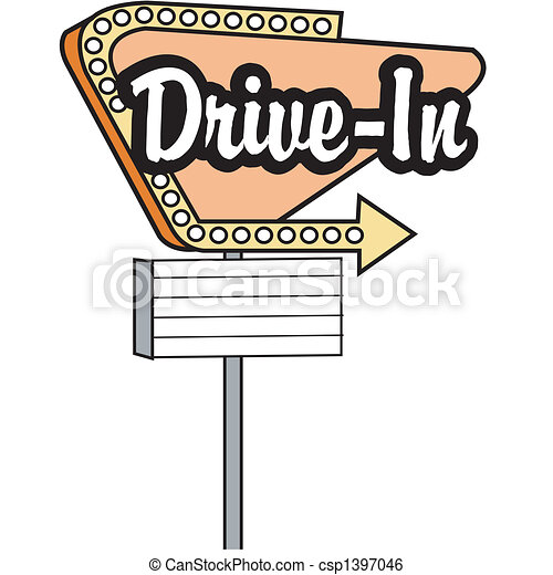 Drive In Sign Clip Art Graphic - csp1397046