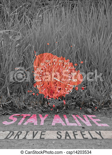 Drive Safely Stay Alive Speedometer In Grass Concept