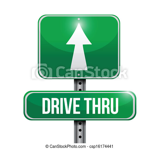 drive thru road sign illustration design - csp16174441