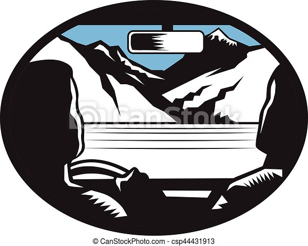 Driver Looking Up Mountain Car Windshield Oval Woodcut - csp44431913
