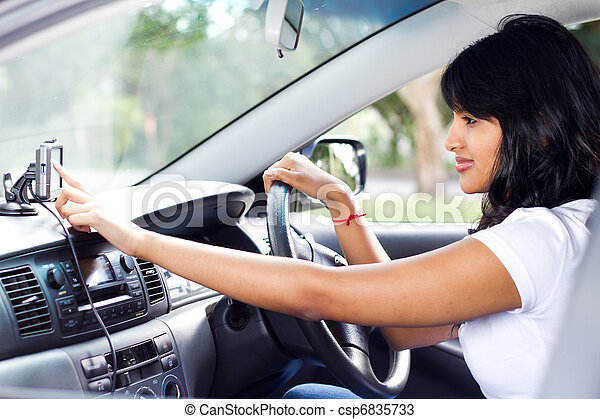 driver using GPS navigator - csp6835733