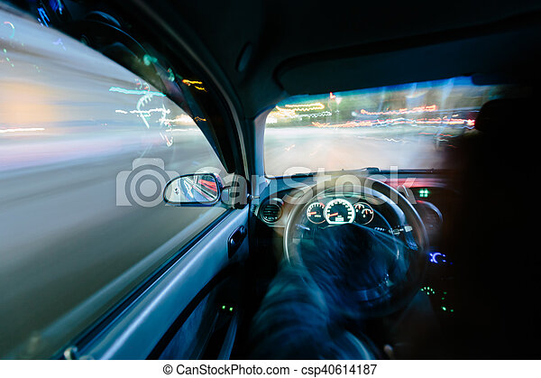 Driving at night. - csp40614187