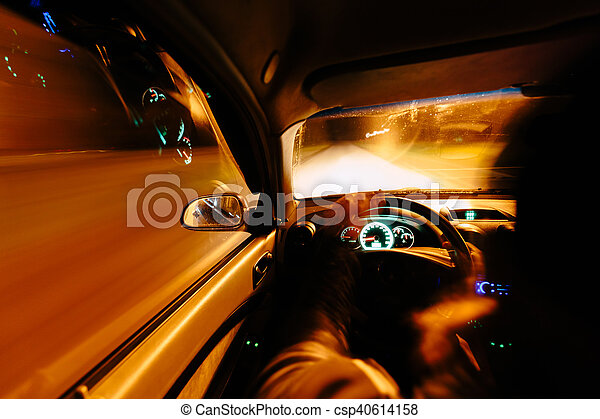 Driving at night. - csp40614158