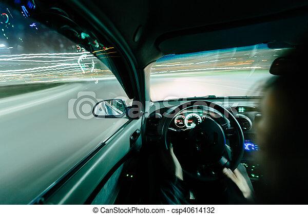 Driving at night. - csp40614132