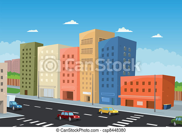 Driving Downtown Illustration Of A Cartoon City Downtown With