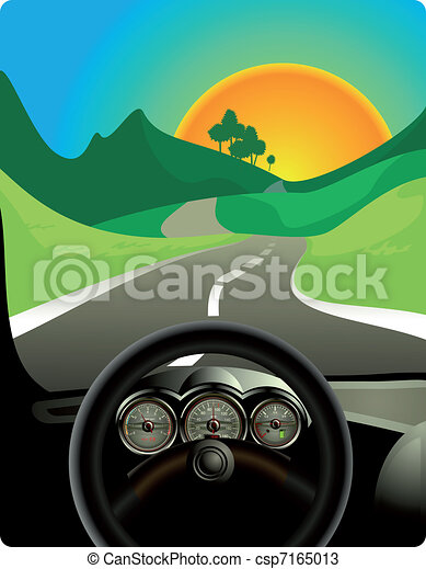driving on long road - csp7165013