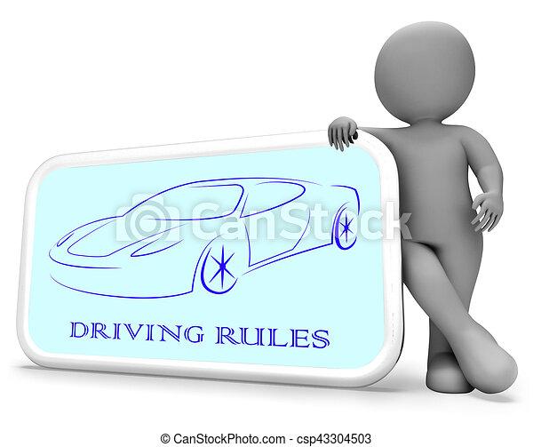 Driving Rules Shows Passenger Car 3d Rendering - csp43304503