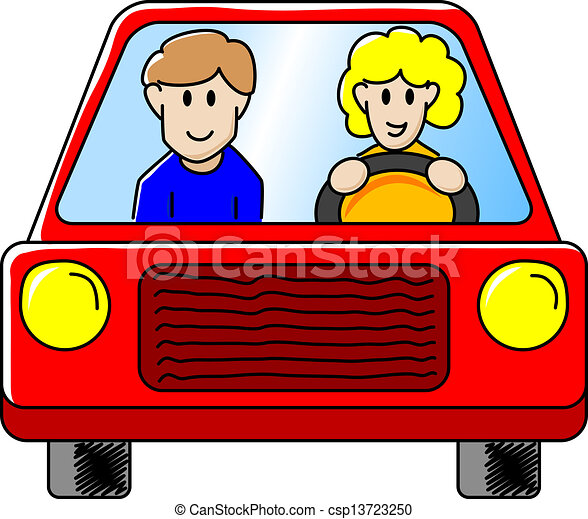 driving the car vector illustration of a woman and a man driving in rh canstockphoto com driving game clipart driving clipart free