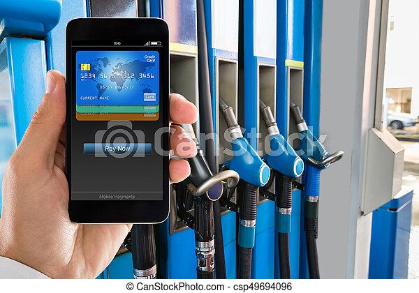 drivmedel pumpar, station, gas - csp49694096