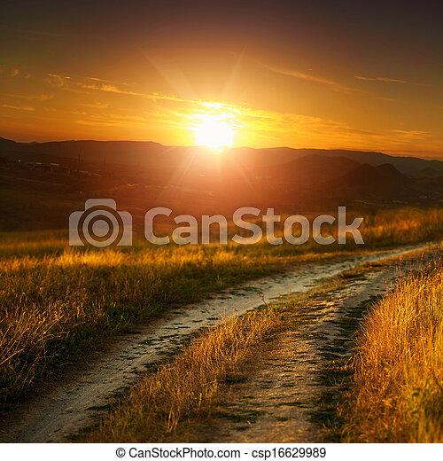droga, łąka, kasownik, abstrakcyjny krajobraz - csp16629989