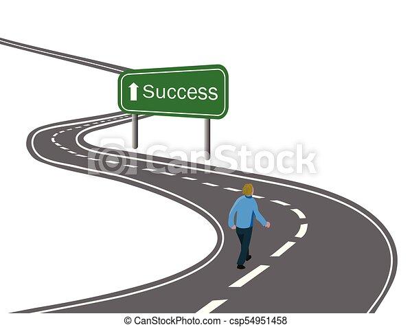 droga, pieszy, pojęcie, zwycięstwo, powodzenie, asfalt, strzała znaczą, podróż, zielony, cele, droga, łukowaty, biały, dokonując, szosa, człowiek - csp54951458