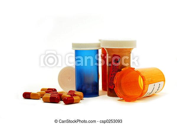 drogas, blanco, píldoras - csp0253093