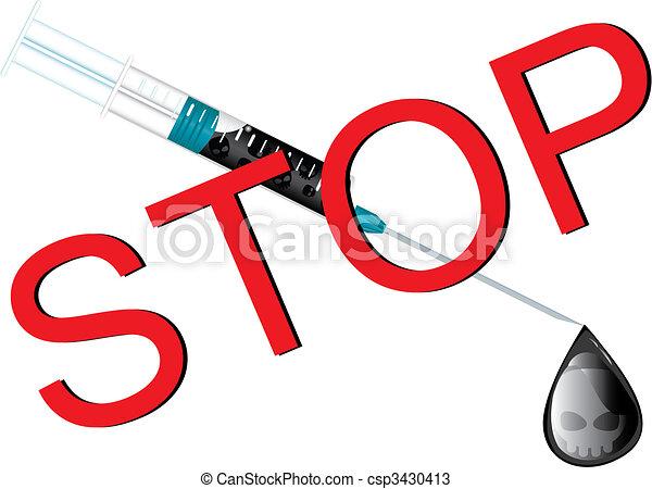 Detened la pared de las drogas, ilustración vectorial - csp3430413