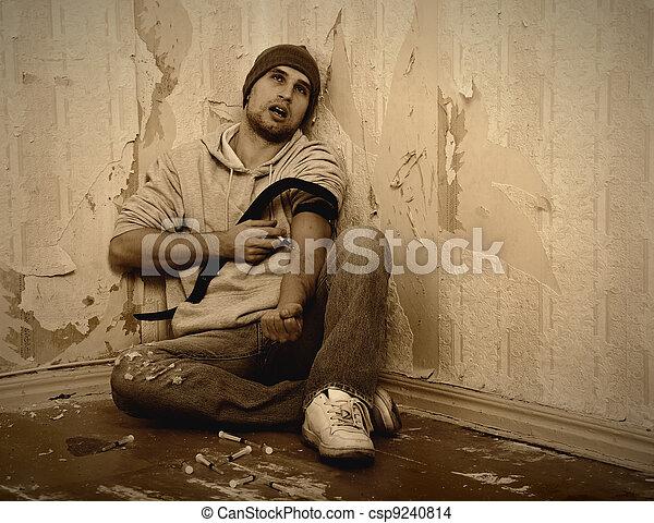 drogas, -, mau, viciado, siringa, usando, homem - csp9240814