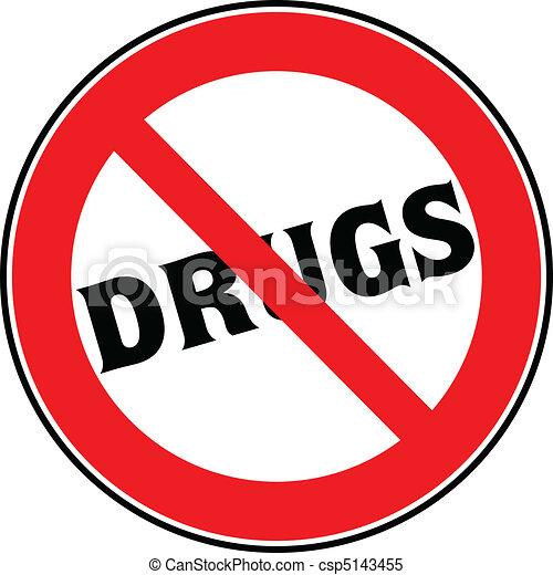 drogas, parada, ilustración, señal - csp5143455
