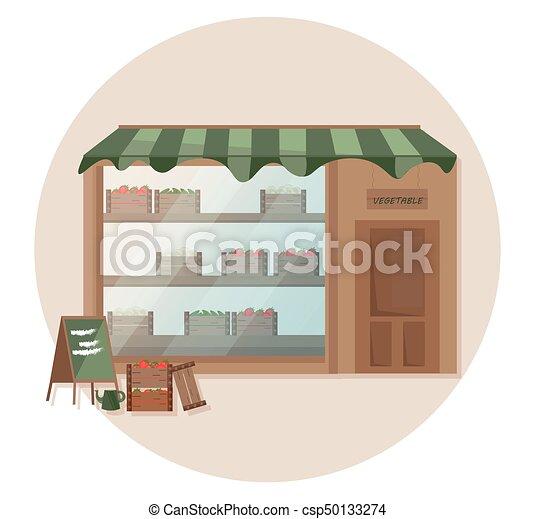 drogheria, fattoria, mensola, vettore, fresco, illustrazioni, store. - csp50133274