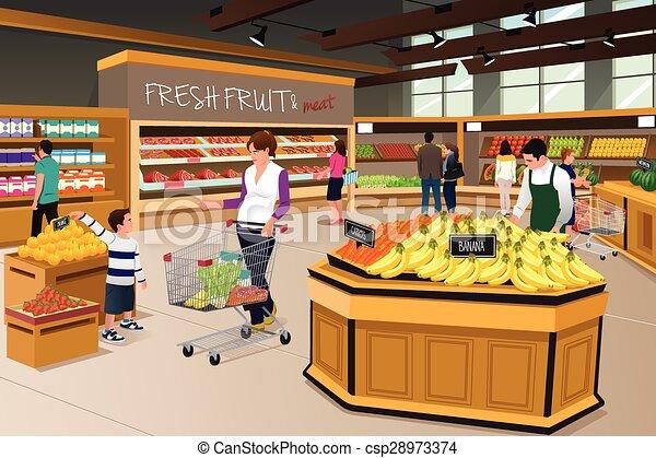 drogheria, figlio, shopping, negozio, madre - csp28973374