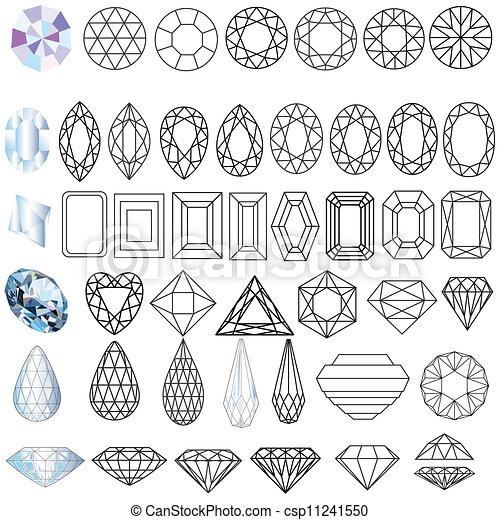 drogocenny klejnot, formuje, komplet, kamienie, cięty - csp11241550