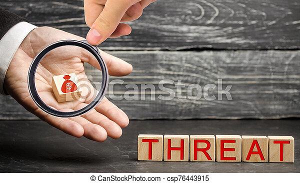 drohung, druck, geld, loss., analyse, geschäftsstrategie, risiken, investments., outflow., terrorismus, finanziell, concept., business., swot, hauptstadt, schutz, bargeld, klein - csp76443915