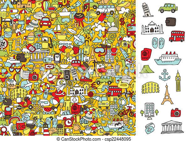droit, game., icônes voyage, solution, layer!, caché, trouver, visuel - csp22448095