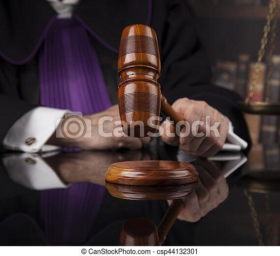 droit & loi, justice, concept., salle audience, juge, mâle - csp44132301