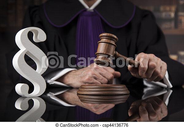 droit & loi, justice, concept., salle audience, juge, mâle - csp44136776