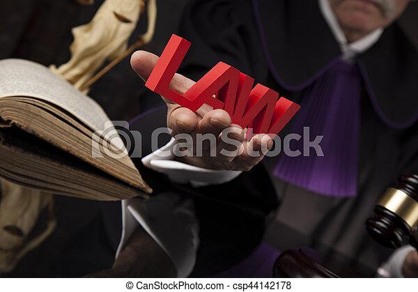 droit & loi, justice, concept., salle audience, juge, mâle - csp44142178
