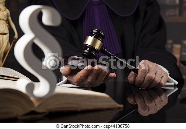 droit & loi, justice, concept., salle audience, juge, mâle - csp44136758