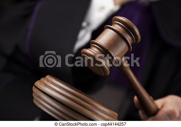 droit & loi, justice, concept., salle audience, juge, mâle - csp44144257