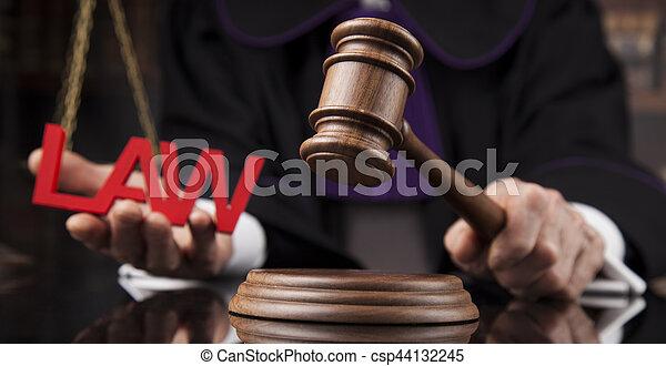 droit & loi, justice, concept., salle audience, juge, mâle - csp44132245