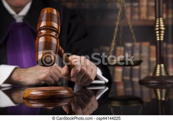 droit & loi, justice, concept., salle audience, juge, mâle - csp44144225