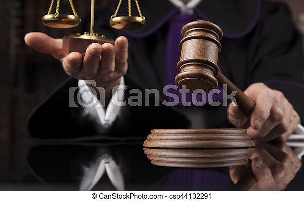 droit & loi, justice, concept., salle audience, juge, mâle - csp44132291