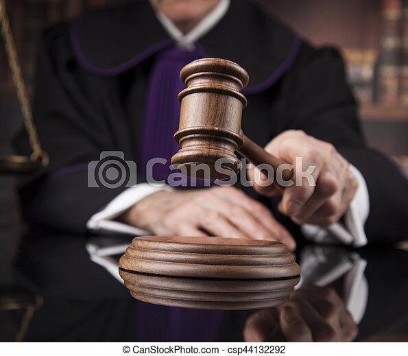 droit & loi, justice, concept., salle audience, juge, mâle - csp44132292