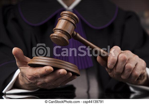 droit & loi, justice, concept., salle audience, juge, mâle - csp44139791
