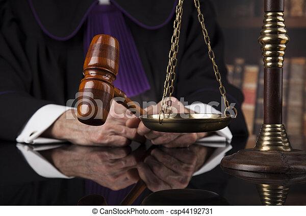 droit & loi, justice, concept., salle audience, juge, mâle - csp44192731
